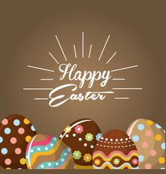 Happy easter rabbit eggs day icon vector