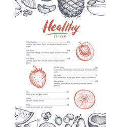 Healthy food card hand drawn design vector