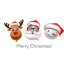 Holiday emoticon set icons christmas emoji vector
