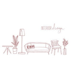 home interior design elements hand drawn vector image