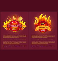 Hot barbeque icons with burning badges vector