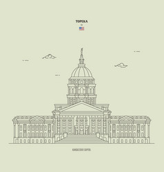 Kansas state capitol in topeka usa landmark icon vector