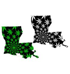 Louisiana - map is designed cannabis leaf vector