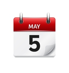 May 5 flat daily calendar icon Date and vector