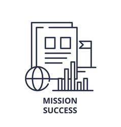 Mission success line icon concept mission success vector