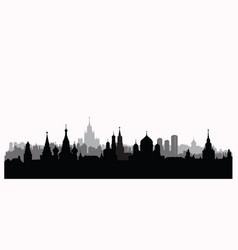 Moscow city buildings silhouette russian urban vector