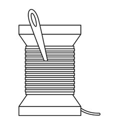 Needle and thread icon outline style vector