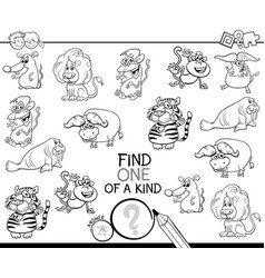 One a kind game with wild animals color book vector