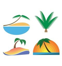 Palm-tree icons tropic symbols vector