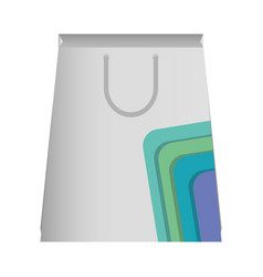 Paper bag with lines aquamarine and purple vect vector
