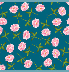 Pink peony seamless on indigo blue background vector