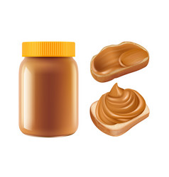Realistic caramel caramel jar and vector