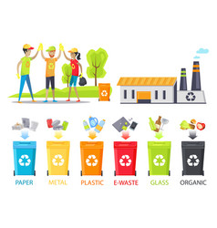 recycling plant and happy workers colorful poster vector image