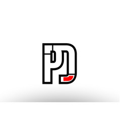 red and black alphabet letter pd p d logo vector image
