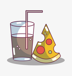 Refreshment glass with slice of pizza food vector