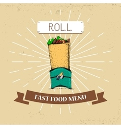 Roll fast food in vintage vector image