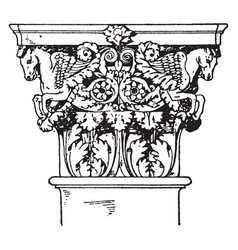 Roman-corinthian pilaster capital a leaf and vector