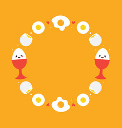 Round frame with fried eggs for breakfast design vector