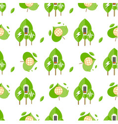 seamless pattern with trees battery signs globe vector image
