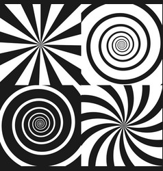 set of psychedelic spiral with radial rays twirl vector image