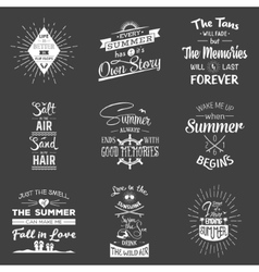 Set of vintage summer typographic quotes vector image