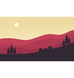 Silhouette of hill at the sunrise vector