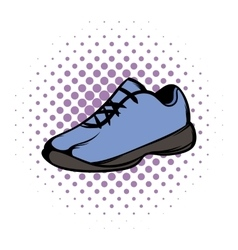 Single blue running shoes comics vector
