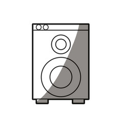 speaker sound audio appliance shadow line vector image