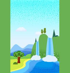 Spring landscape april month season banner vector