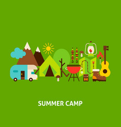 summer camp greeting card vector image