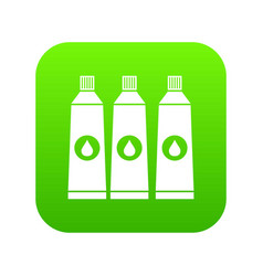 Three tubes with paint icon digital green vector