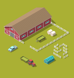 traditional vintage red farm isometric 3d vector image