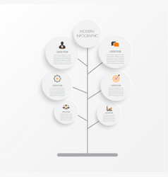 tree infographic with icons numbers and text vector image