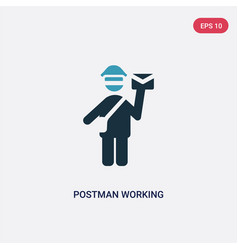 two color postman working icon from people vector image