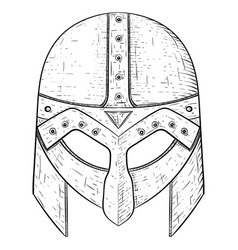 Viking helmet hand drawn sketch vector