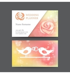 Vintage wedding business card template vector