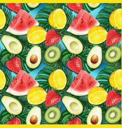 Watercolor fruit colorful tropical pattern vector