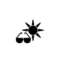 web icon sun and glasses black on white vector image
