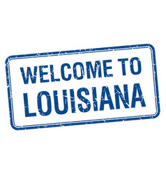 Welcome to louisiana blue grunge square stamp vector