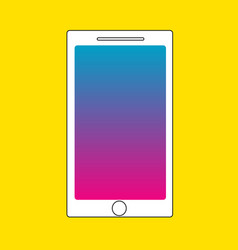 White phone with yellow background vector