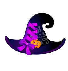 witch hat with pink ribbon bow isolated on white vector image