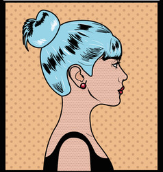 woman with blue hair pop art style vector image