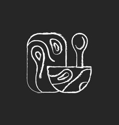 wooden tableware chalk white icon on dark vector image