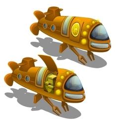 Yellow submarine cargo isolated vector