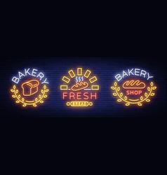 bakery set logo fresh bread loaf vector image