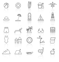 Beach line icons with reflect on white background vector