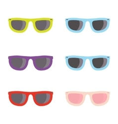 color sunglasses icons set vector image