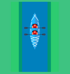 flat kayak design with people sailing along the vector image