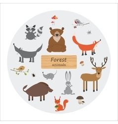 Forest animals in cartoon style vector image