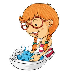 Girl washing hands vector image vector image